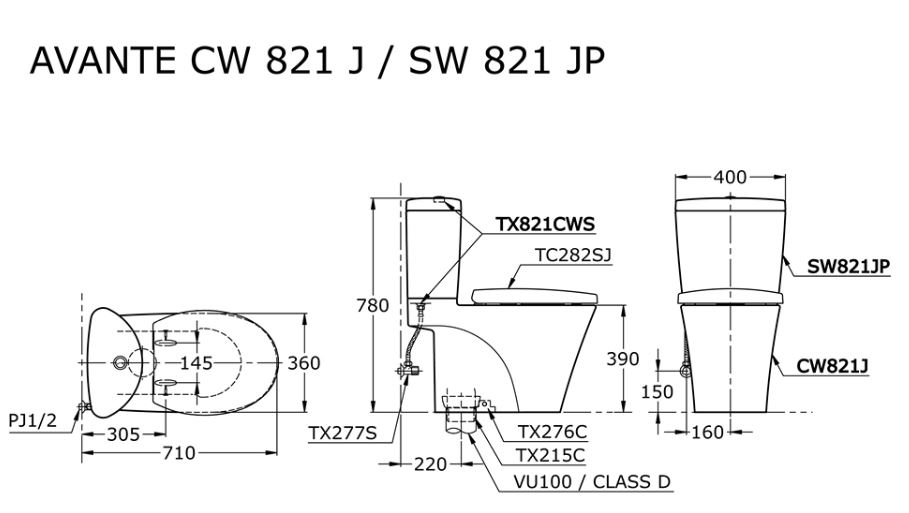 Toto CW821PJ features toilet bowl city singapore